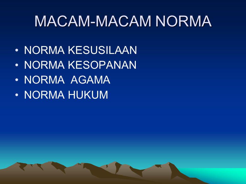 MACAM-MACAM NORMA NORMA KESUSILAAN NORMA KESOPANAN NORMA AGAMA