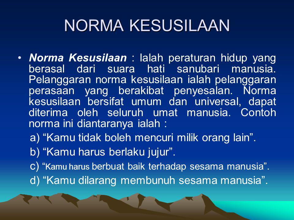 NORMA KESUSILAAN