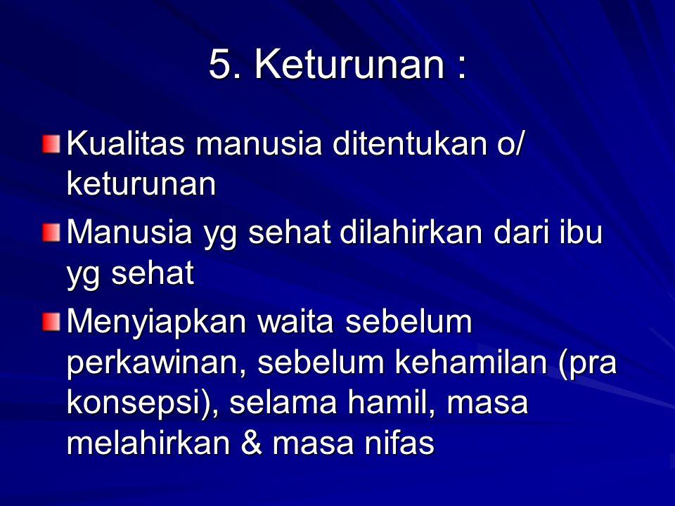5. Keturunan : Kualitas manusia ditentukan o/ keturunan
