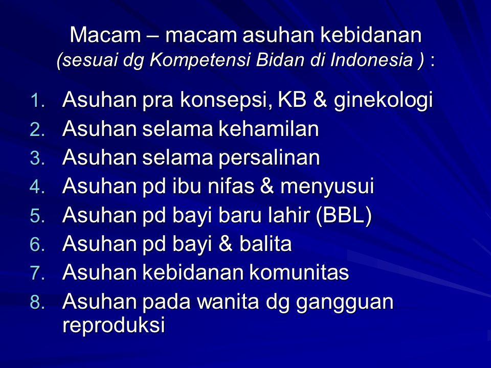 Macam – macam asuhan kebidanan (sesuai dg Kompetensi Bidan di Indonesia ) :