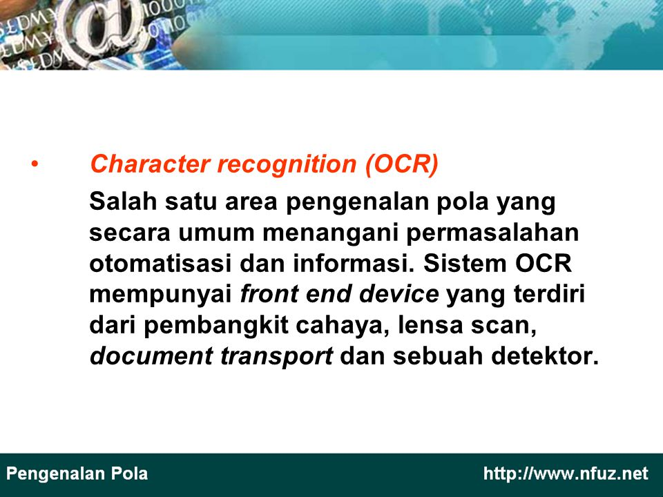 Character recognition (OCR)