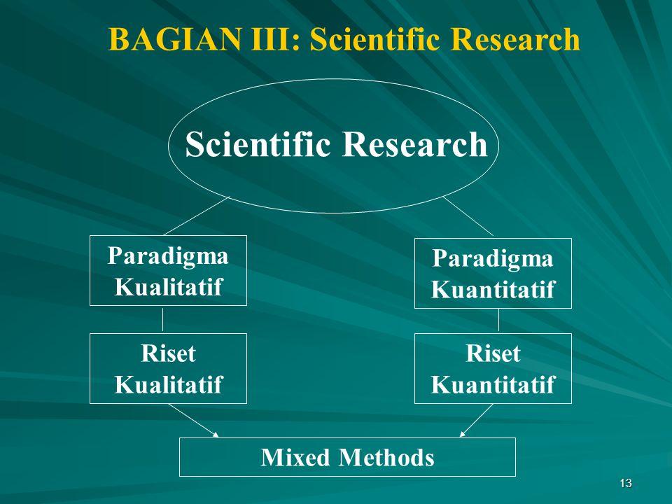 BAGIAN III: Scientific Research Paradigma Kuantitatif