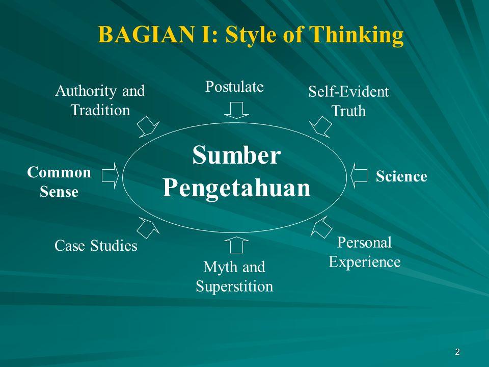 BAGIAN I: Style of Thinking