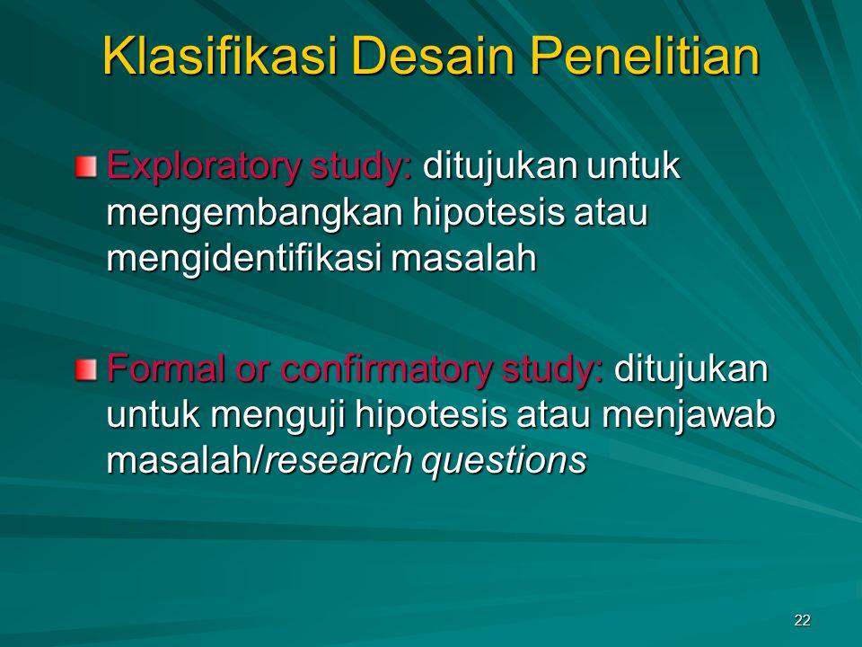 Klasifikasi Desain Penelitian