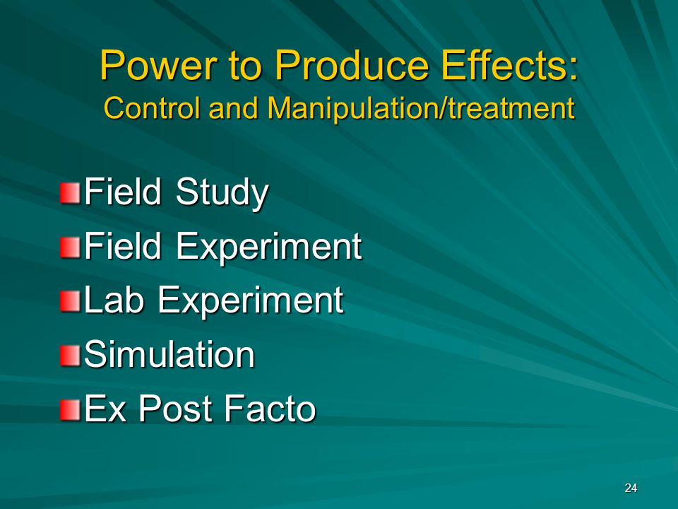 Power to Produce Effects: Control and Manipulation/treatment