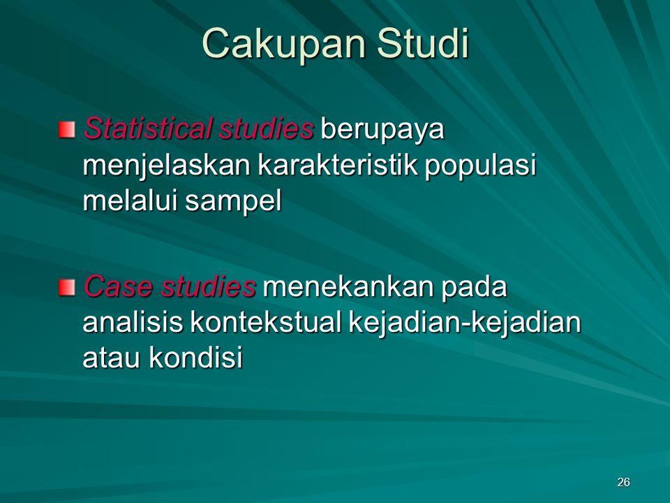 Cakupan Studi Statistical studies berupaya menjelaskan karakteristik populasi melalui sampel.