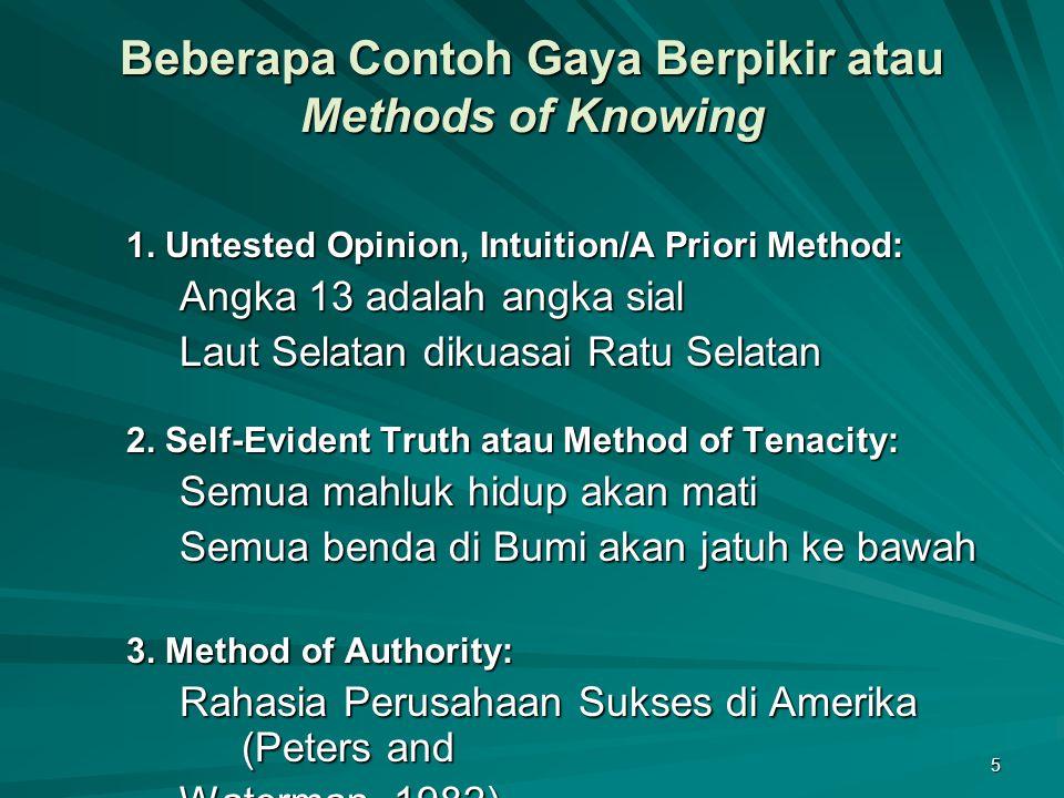 Beberapa Contoh Gaya Berpikir atau Methods of Knowing
