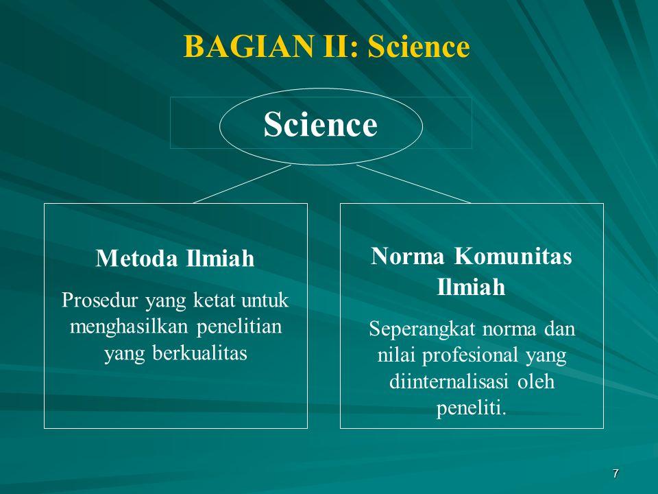 Science BAGIAN II: Science Metoda Ilmiah Norma Komunitas Ilmiah