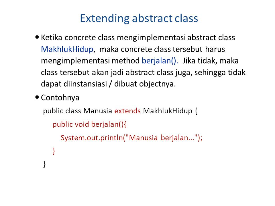 Extending abstract class