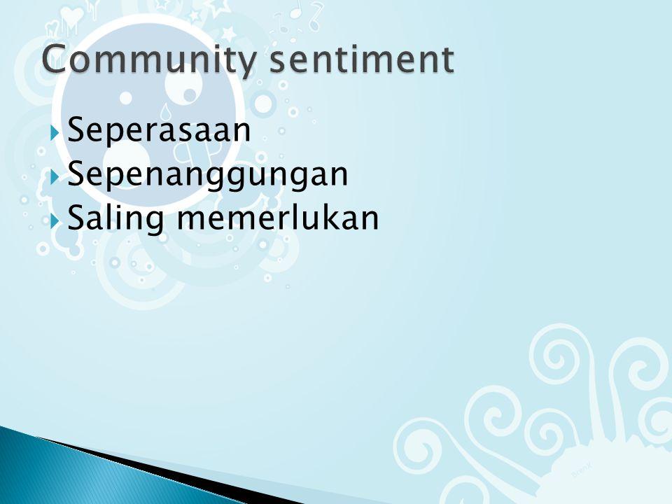 Community sentiment Seperasaan Sepenanggungan Saling memerlukan
