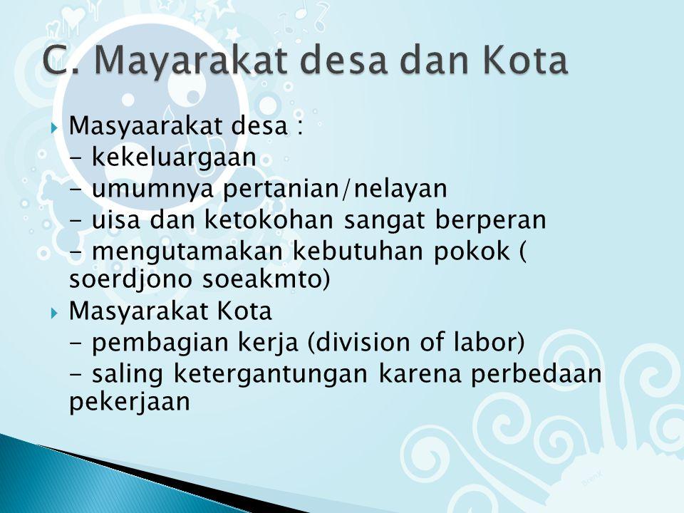C. Mayarakat desa dan Kota