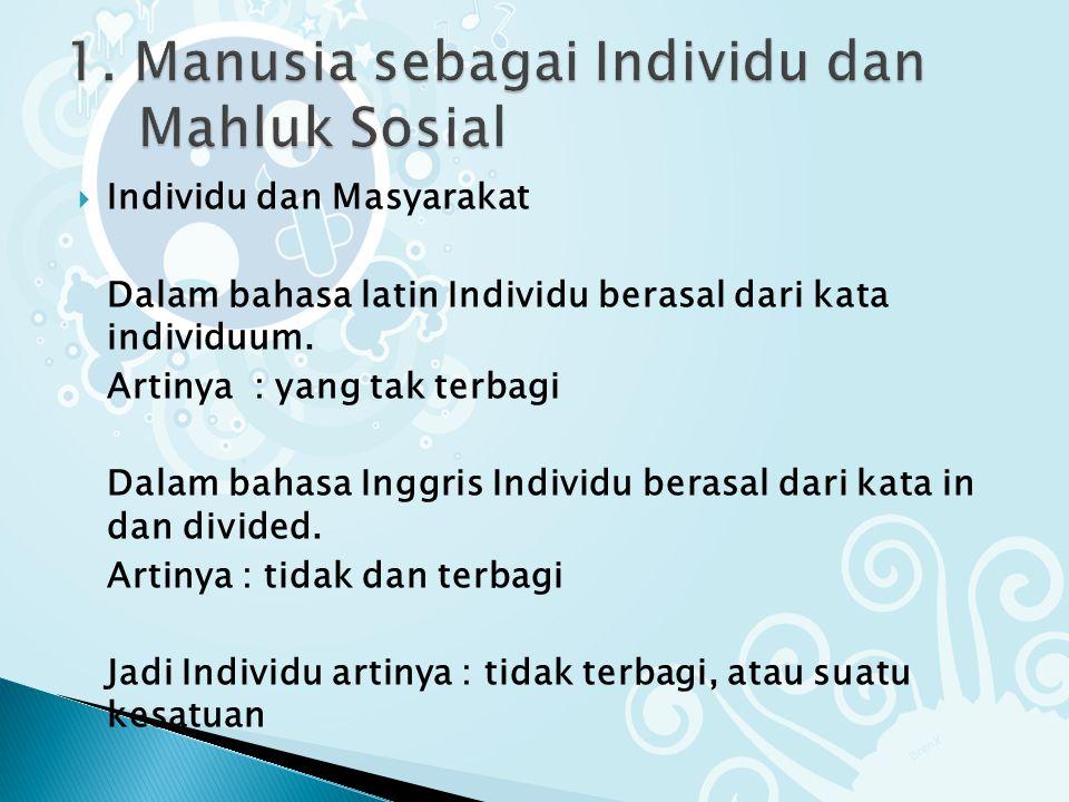1. Manusia sebagai Individu dan Mahluk Sosial