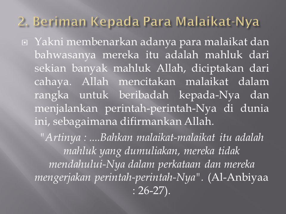 2. Beriman Kepada Para Malaikat-Nya