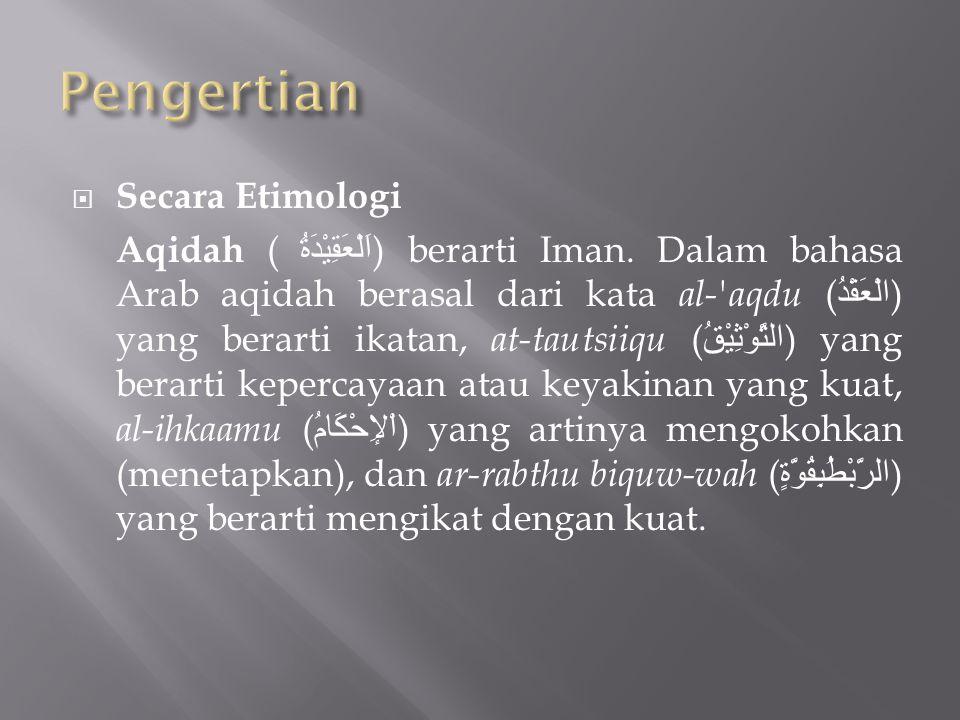 Pengertian Secara Etimologi