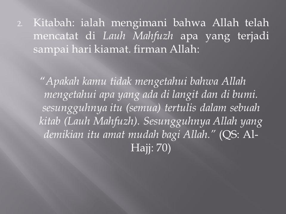 Kitabah: ialah mengimani bahwa Allah telah mencatat di Lauh Mahfuzh apa yang terjadi sampai hari kiamat. firman Allah: