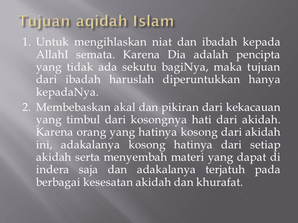 Tujuan aqidah Islam