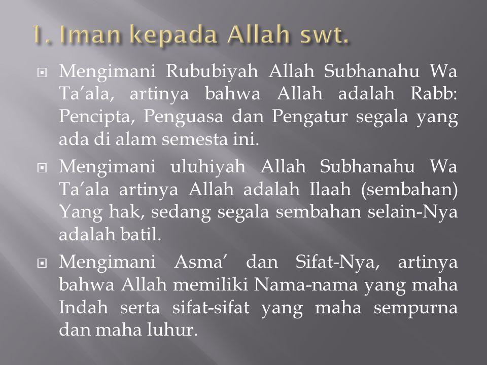 1. Iman kepada Allah swt.