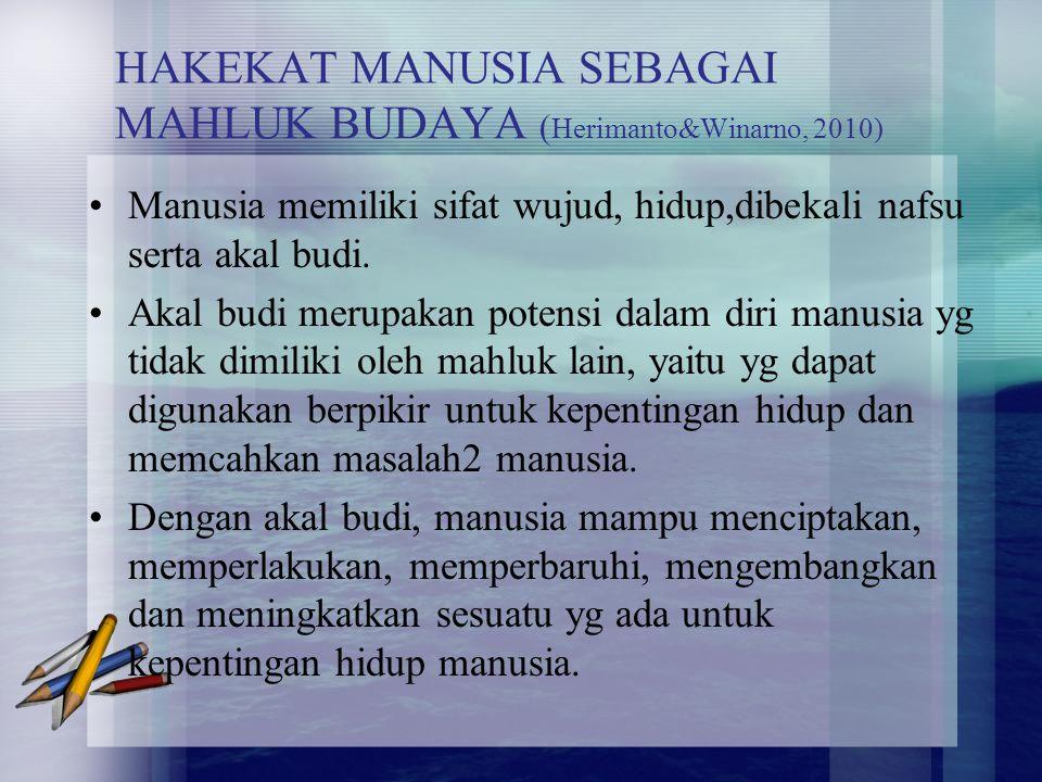 HAKEKAT MANUSIA SEBAGAI MAHLUK BUDAYA (Herimanto&Winarno, 2010)