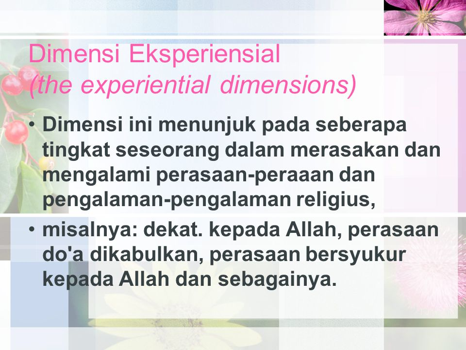 Dimensi Eksperiensial (the experiential dimensions)