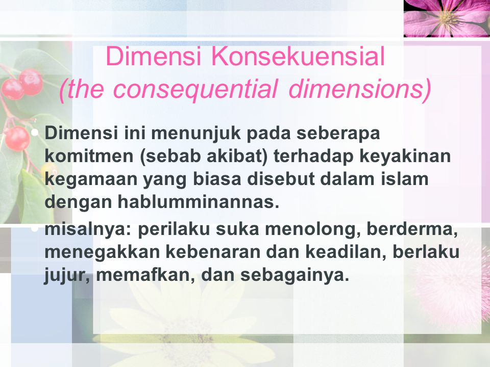 Dimensi Konsekuensial (the consequential dimensions)