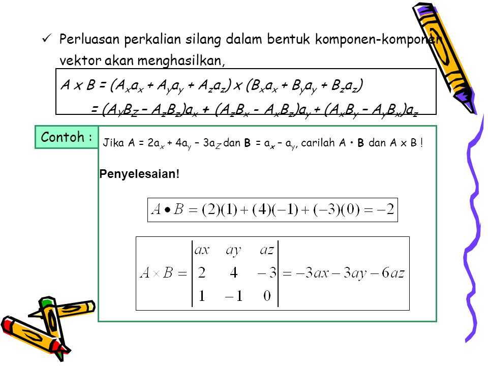 A x B = (Axax + Ayay + Azaz) x (Bxax + Byay + Bzaz)