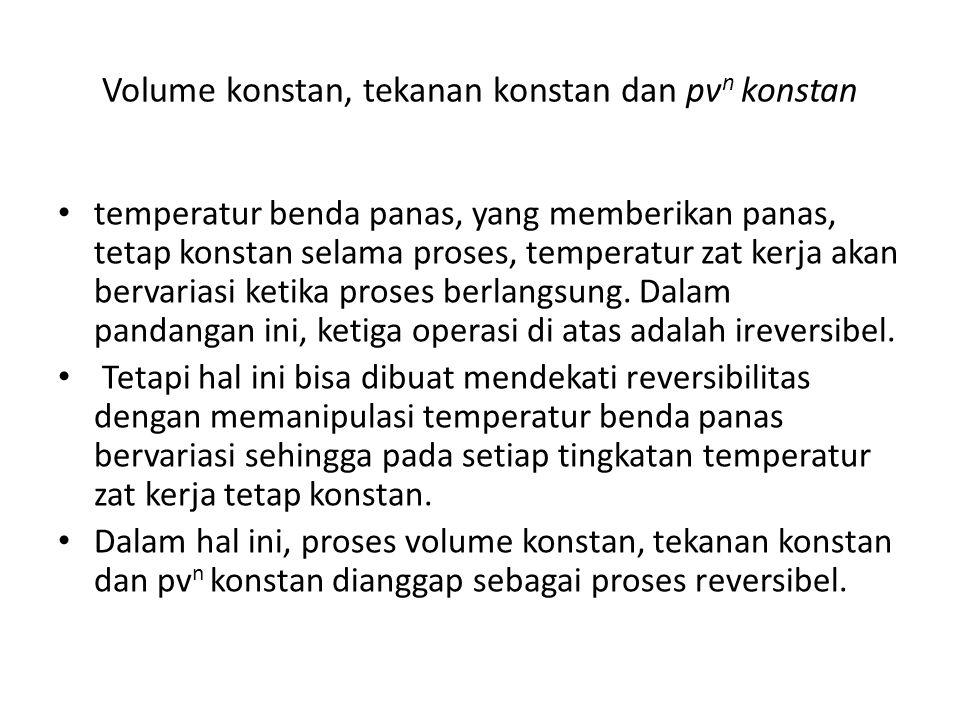 Volume konstan, tekanan konstan dan pvn konstan
