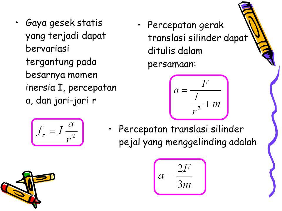 Percepatan gerak translasi silinder dapat ditulis dalam persamaan: