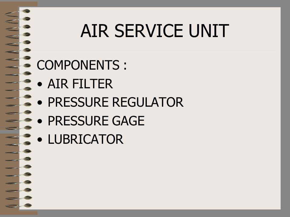 AIR SERVICE UNIT COMPONENTS : AIR FILTER PRESSURE REGULATOR