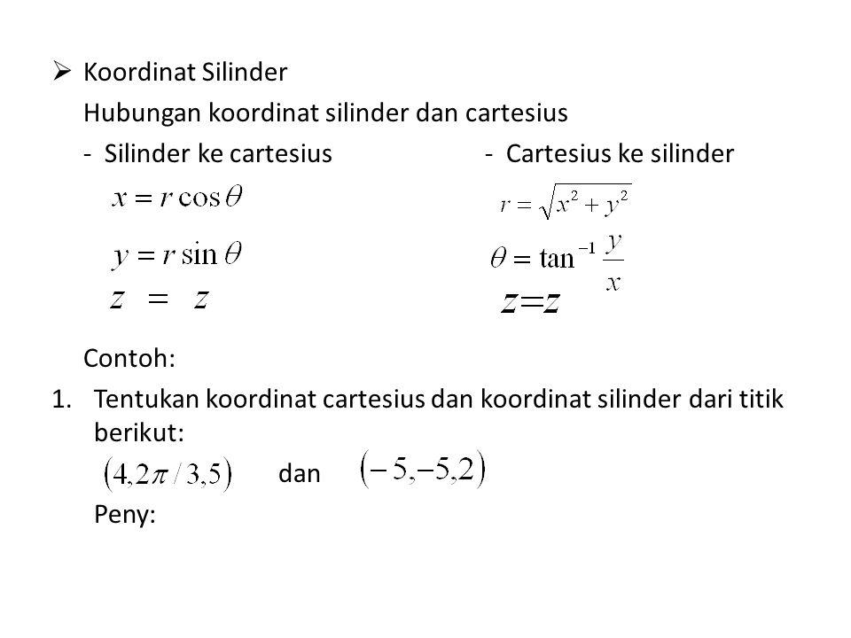 Koordinat Silinder Hubungan koordinat silinder dan cartesius. - Silinder ke cartesius - Cartesius ke silinder.