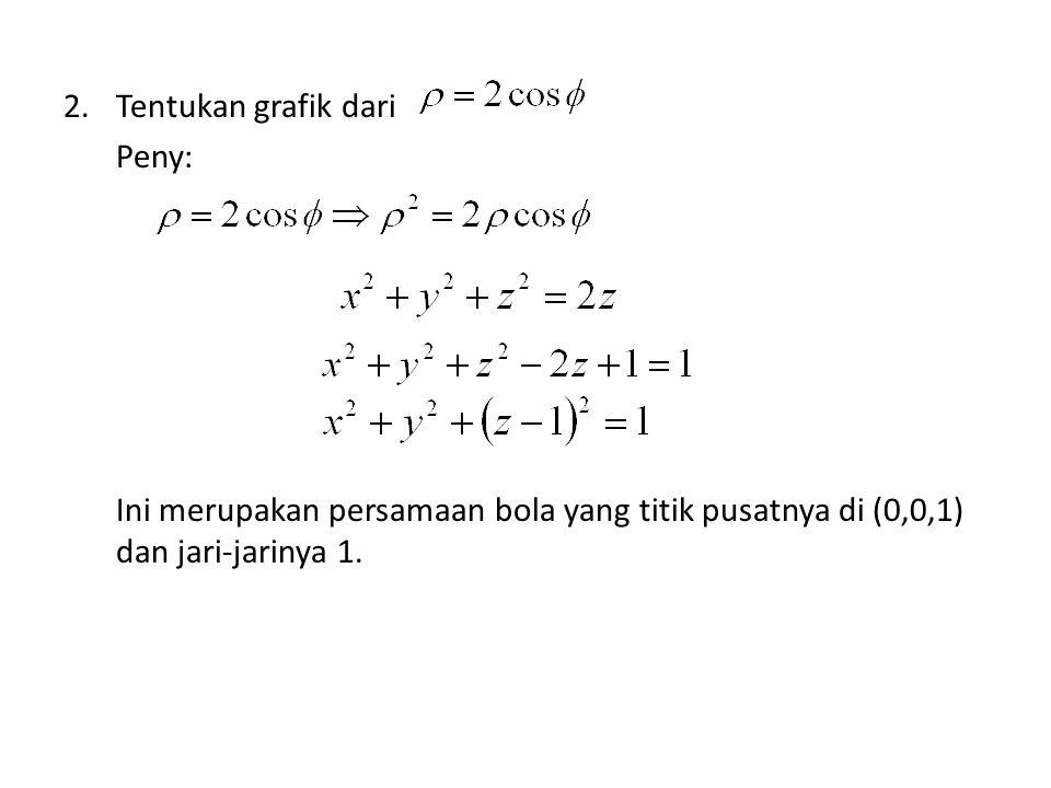 Tentukan grafik dari Peny: Ini merupakan persamaan bola yang titik pusatnya di (0,0,1) dan jari-jarinya 1.