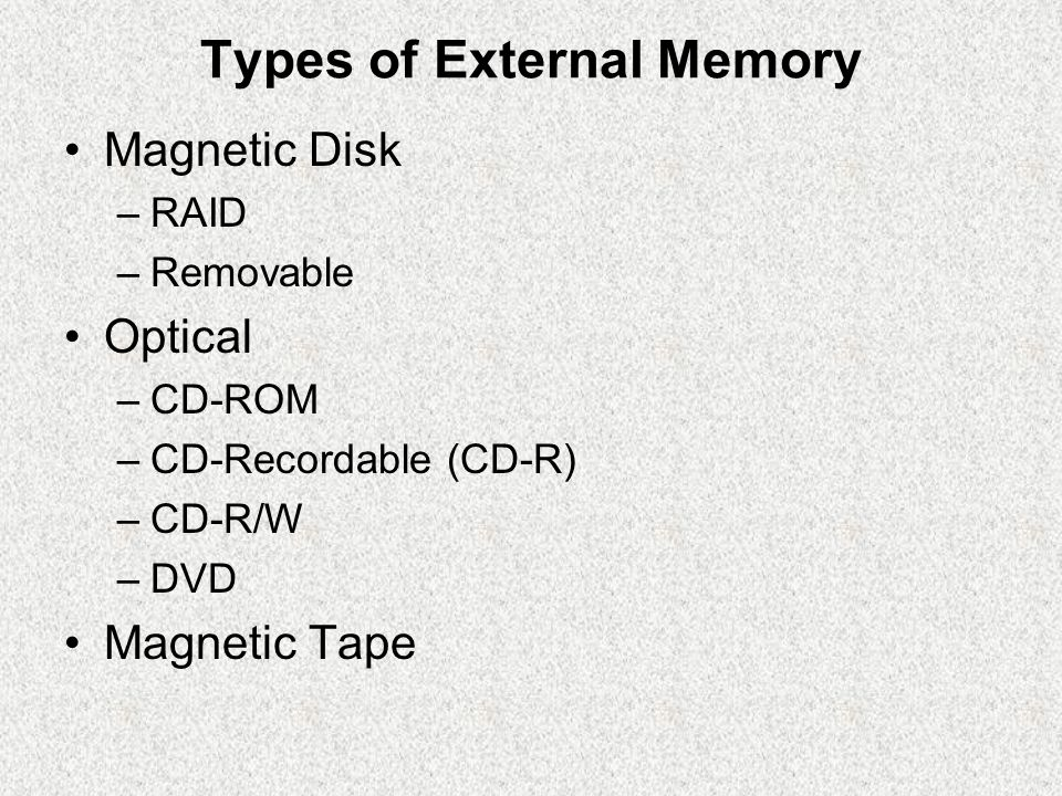 Types of External Memory