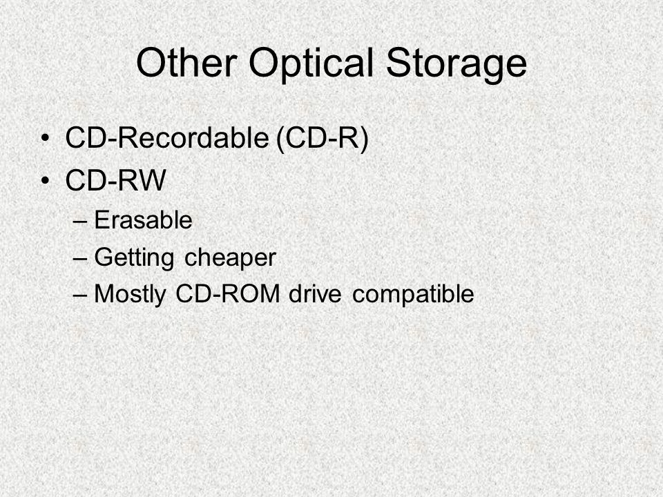 Other Optical Storage CD-Recordable (CD-R) CD-RW Erasable