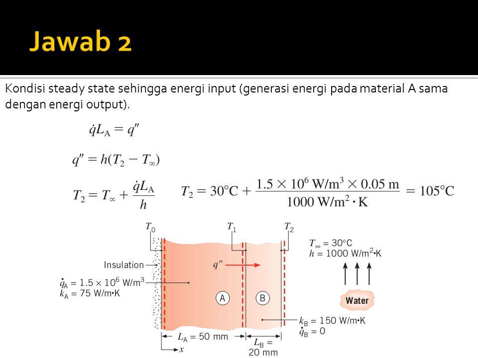 Jawab 2 Kondisi steady state sehingga energi input (generasi energi pada material A sama dengan energi output).