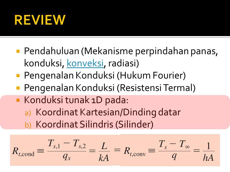 REVIEW Pendahuluan (Mekanisme perpindahan panas, konduksi, konveksi, radiasi) Pengenalan Konduksi (Hukum Fourier)