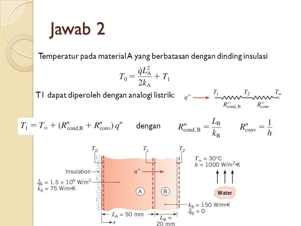 Jawab 2 Temperatur pada material A yang berbatasan dengan dinding insulasi. T1 dapat diperoleh dengan analogi listrik: