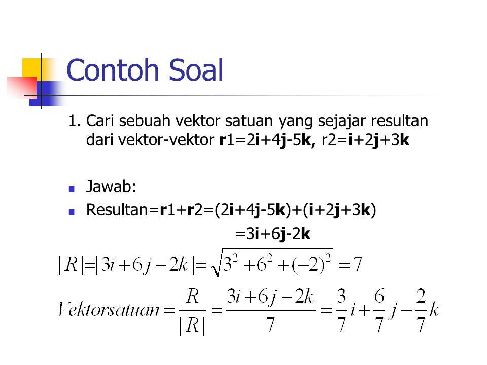 Contoh Soal 1. Cari sebuah vektor satuan yang sejajar resultan dari vektor-vektor r1=2i+4j-5k, r2=i+2j+3k.