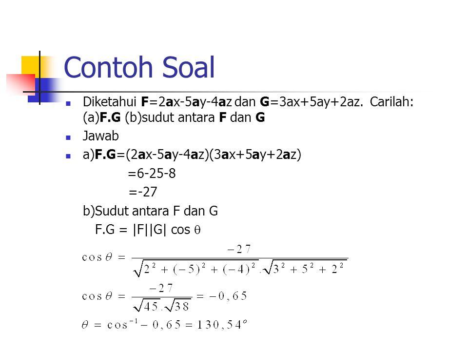 Contoh Soal Diketahui F=2ax-5ay-4az dan G=3ax+5ay+2az. Carilah: (a)F.G (b)sudut antara F dan G. Jawab.