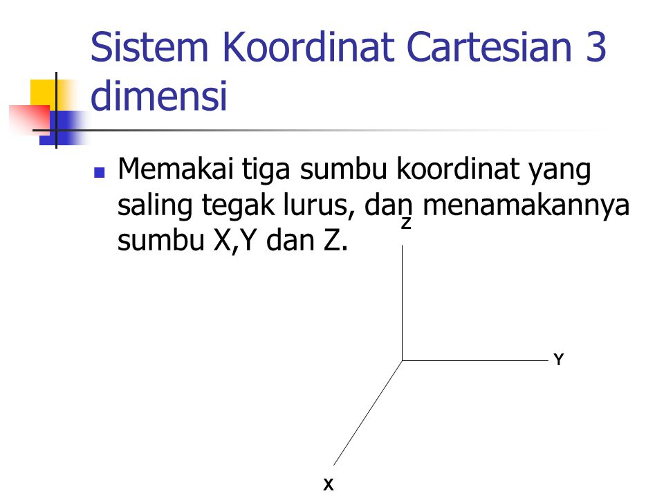 Sistem Koordinat Cartesian 3 dimensi