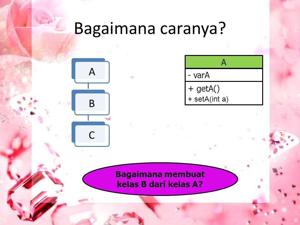 Bagaimana membuat kelas B dari kelas A