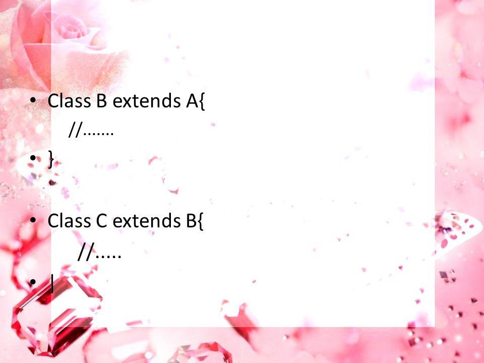 Class B extends A{ //....... } Class C extends B{ //..... |