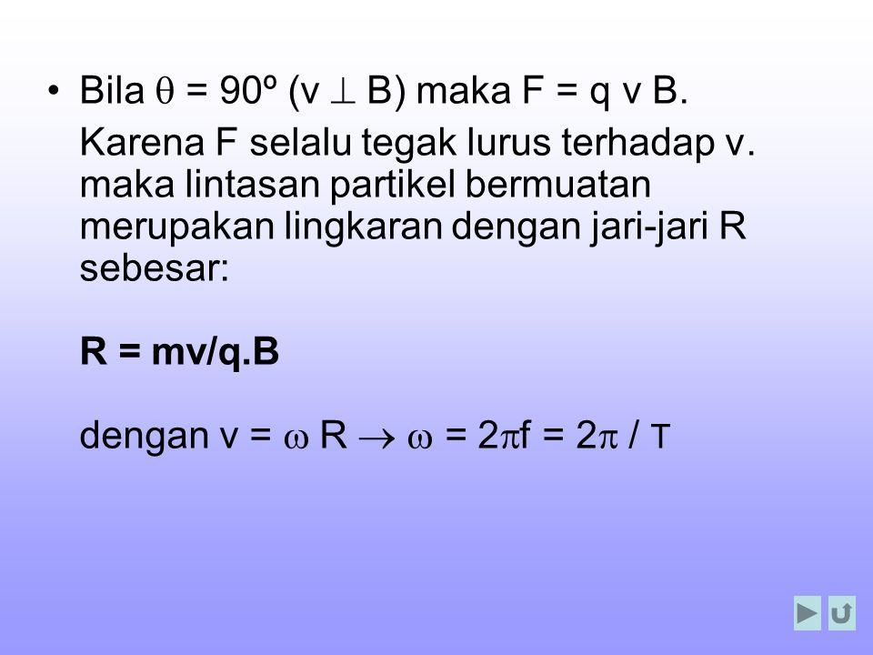 Bila q = 90º (v ^ B) maka F = q v B.