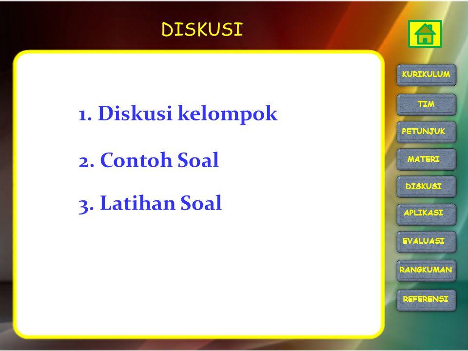 1. Diskusi kelompok 2. Contoh Soal 3. Latihan Soal DISKUSI KURIKULUM