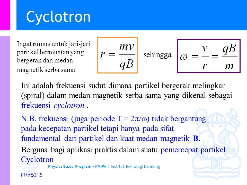 Cyclotron Ingat rumus untuk jari-jari partikel bermuatan yang bergerak dan medan magnetik serba sama.