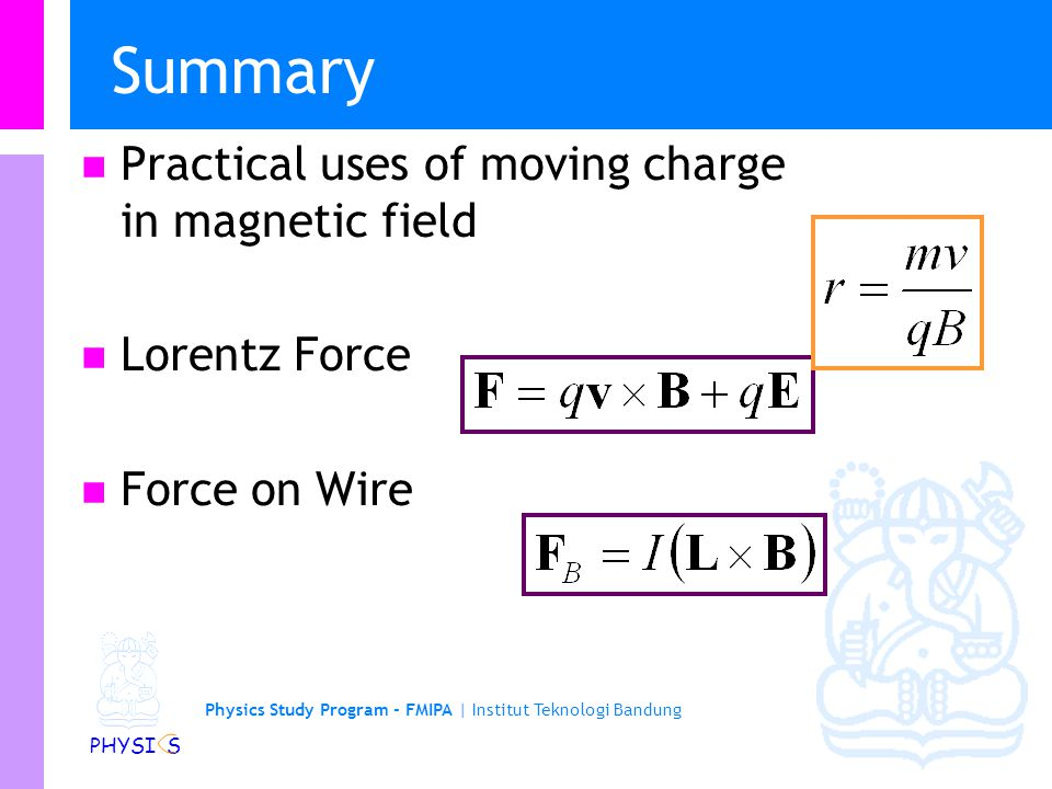Summary Practical uses of moving charge in magnetic field