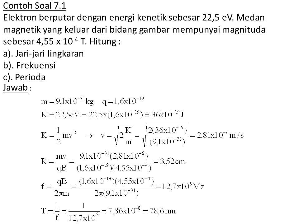 Contoh Soal 7.1 Elektron berputar dengan energi kenetik sebesar 22,5 eV. Medan magnetik yang keluar dari bidang gambar mempunyai magnituda sebesar 4,55 x 10-4 T. Hitung : a). Jari-jari lingkaran b). Frekuensi c). Perioda