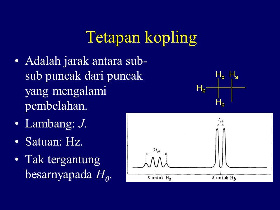 Tetapan kopling Adalah jarak antara sub-sub puncak dari puncak yang mengalami pembelahan. Lambang: J.