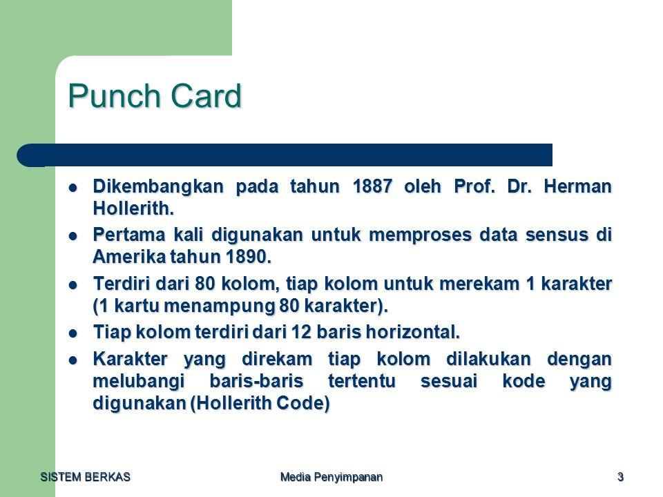 Punch Card Dikembangkan pada tahun 1887 oleh Prof. Dr. Herman Hollerith. Pertama kali digunakan untuk memproses data sensus di Amerika tahun 1890.