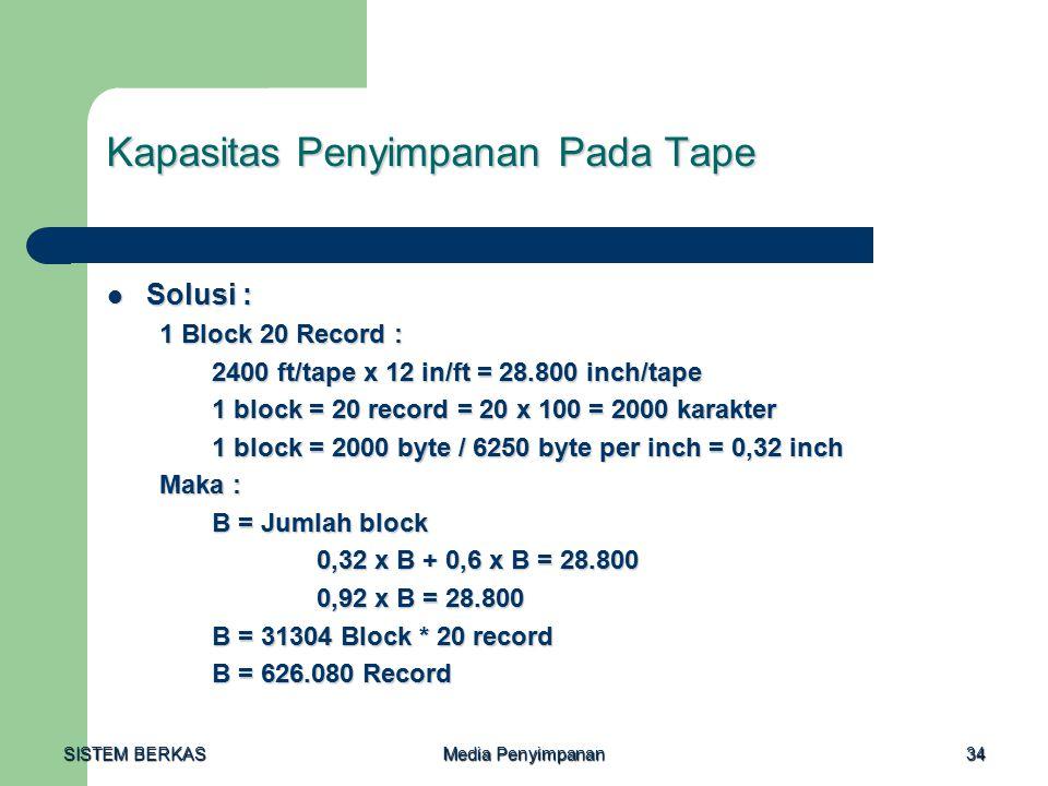 Kapasitas Penyimpanan Pada Tape