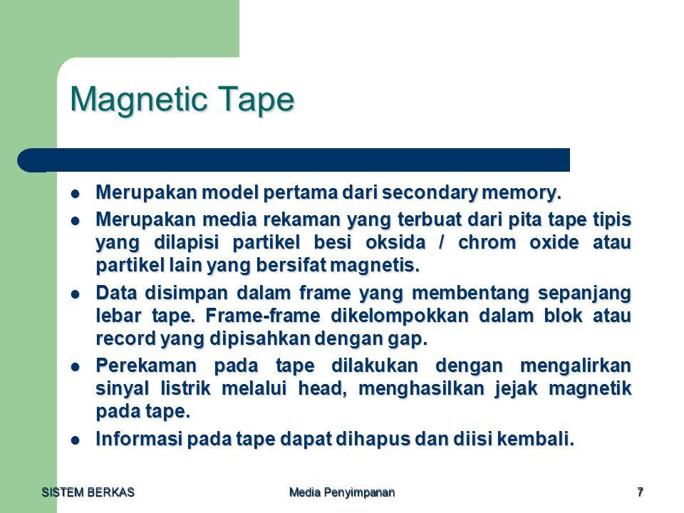 Magnetic Tape Merupakan model pertama dari secondary memory.