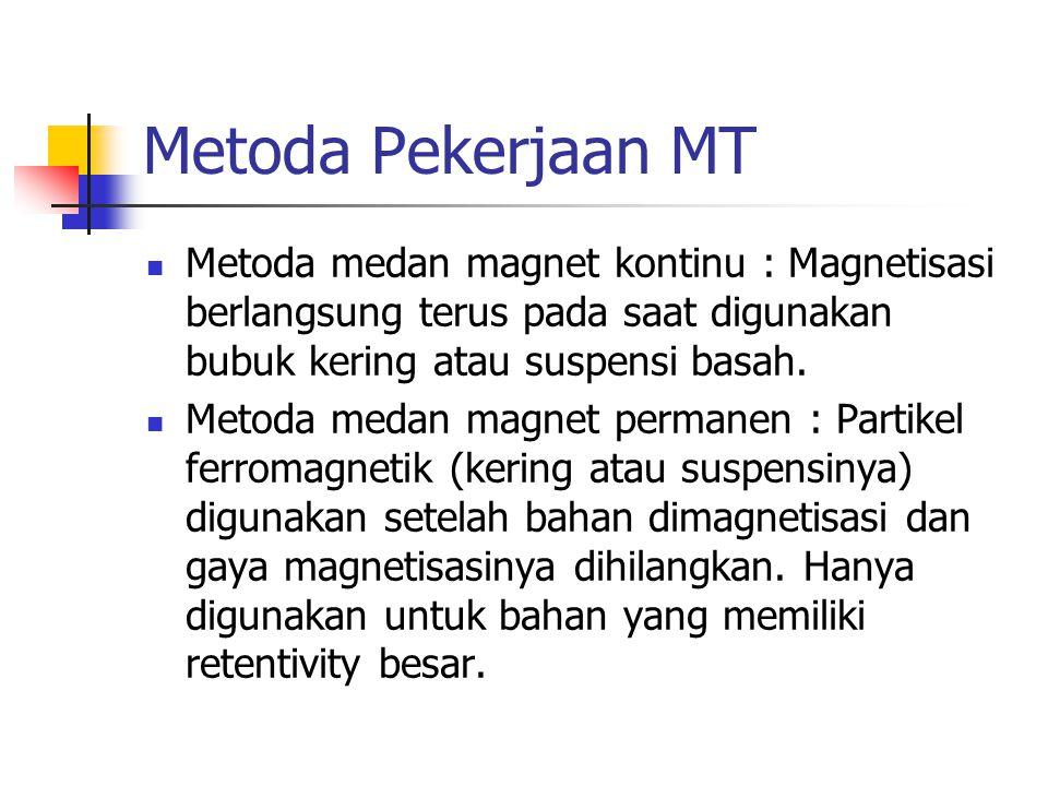 Metoda Pekerjaan MT Metoda medan magnet kontinu : Magnetisasi berlangsung terus pada saat digunakan bubuk kering atau suspensi basah.